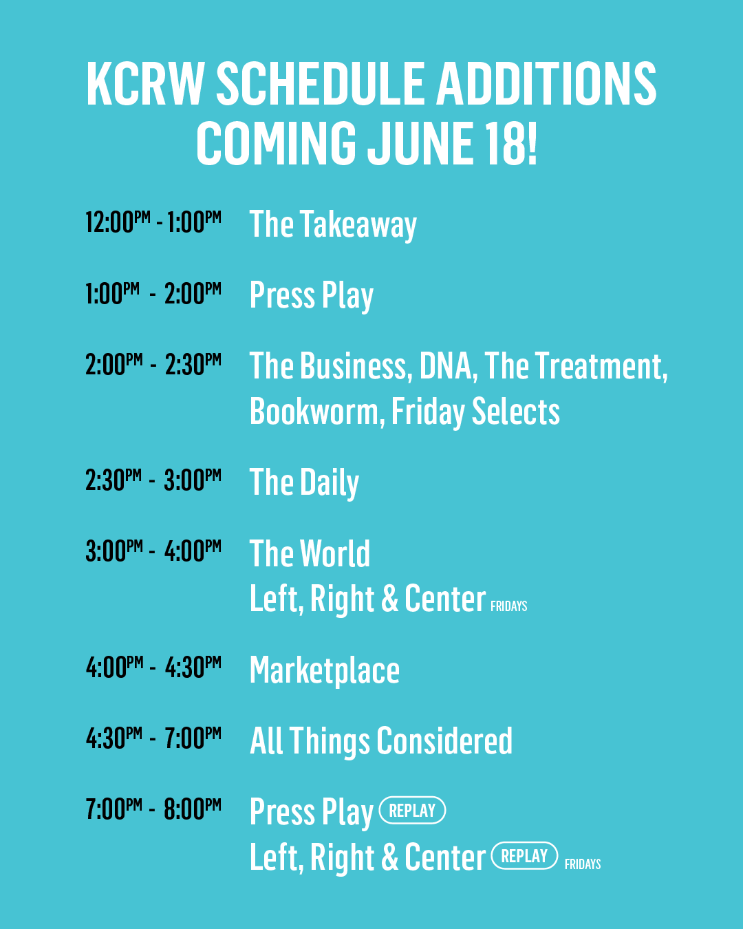 KCRW's All New Schedule
