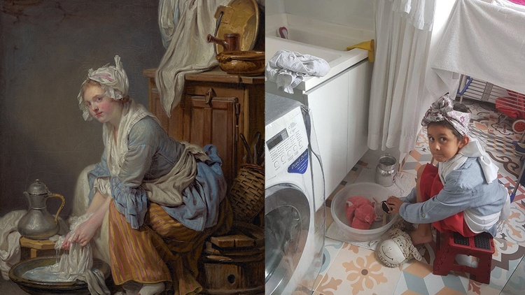 Across the world, people are using whatever materials they can find at home to recreate renowned artworks.