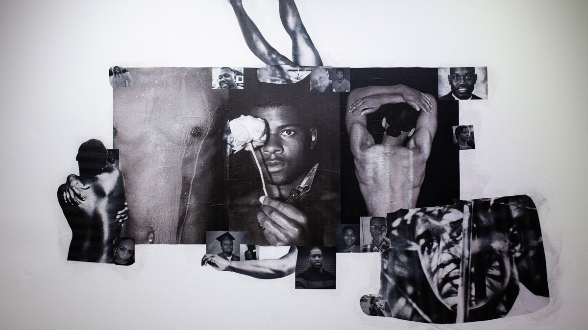 """Clifford Prince King, """"In Memory Of,"""" 2020. Wheat paste, xerox, and candle."""