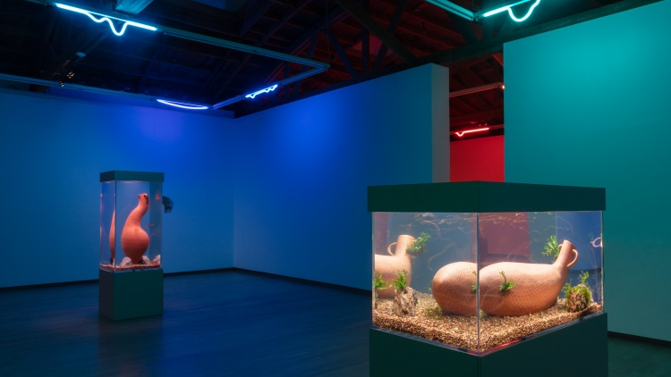 This week's art picks include neon aquariums that blend the ancient past with an apocalyptic future, reflexology mats that encourage rest and reflection, and a virtual art pavilion…