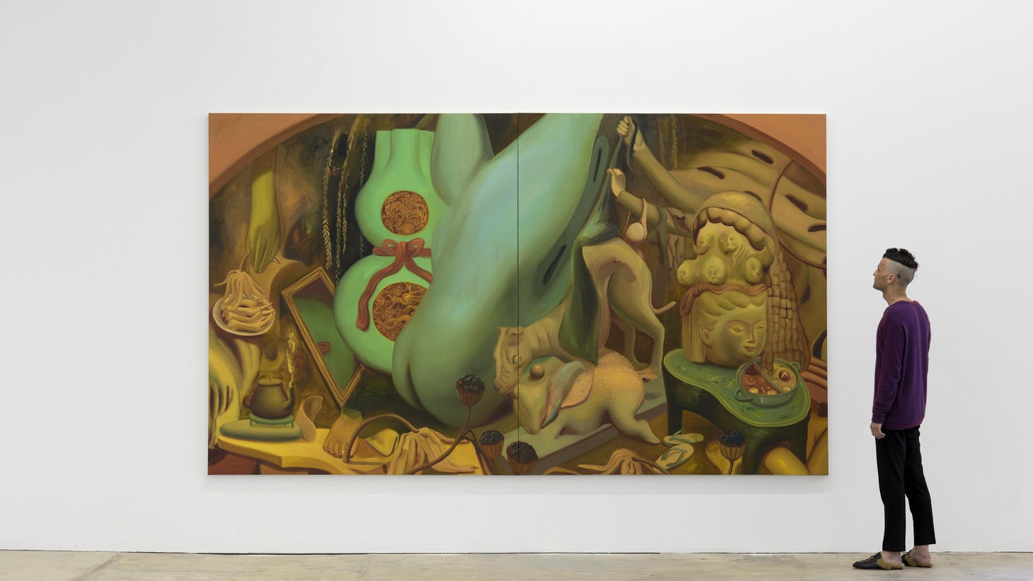 "Dominique Fung, ""Material Manifestations in the Act of Remembrance"" (2020). Oil on canvas, 84 x 144 inches. Image courtesy of the artist and Nicodim Gallery."