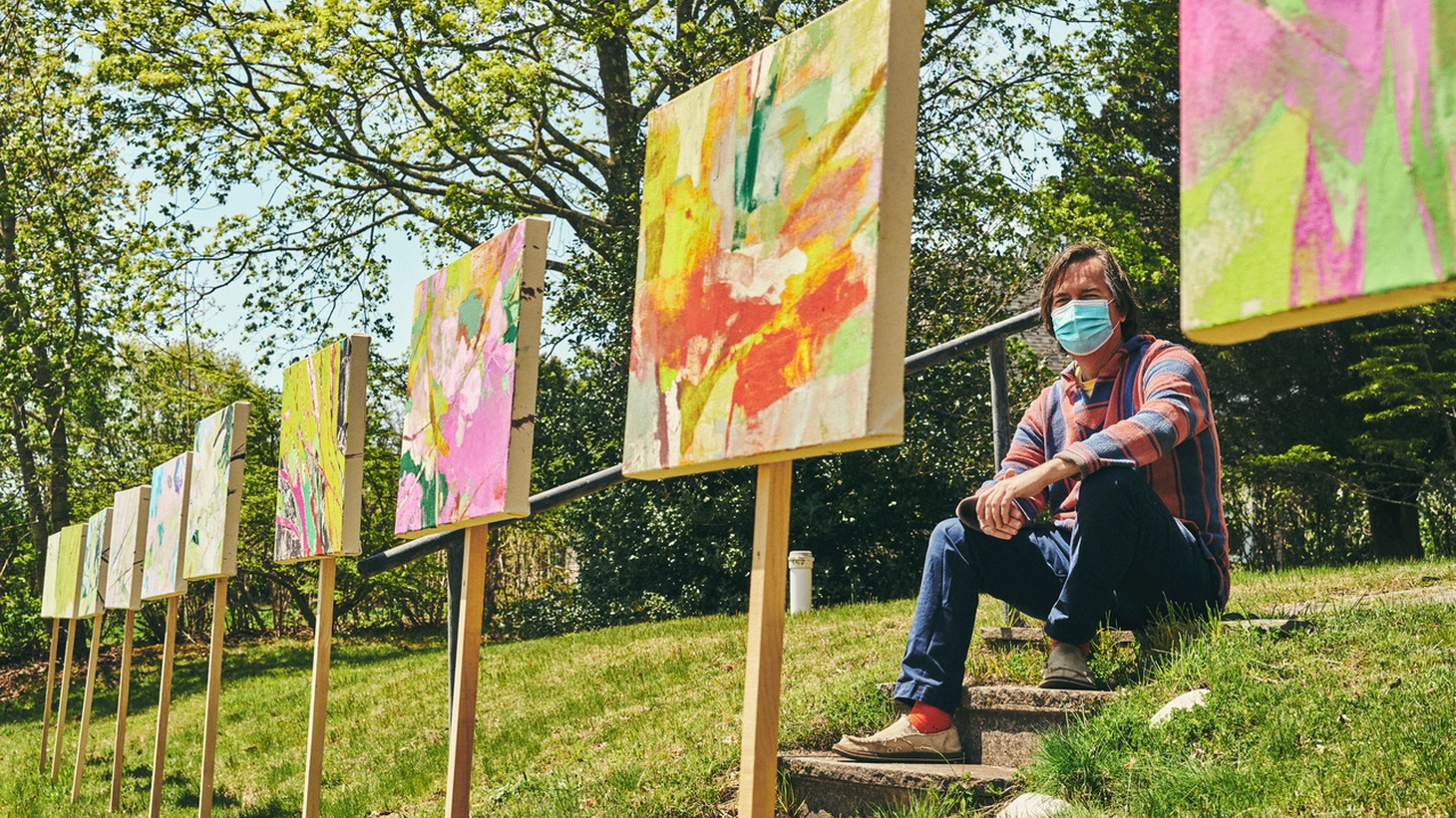 Eric Dever installed his artwork outdoors for Drive-By-Art in South Fork, Long Island.
