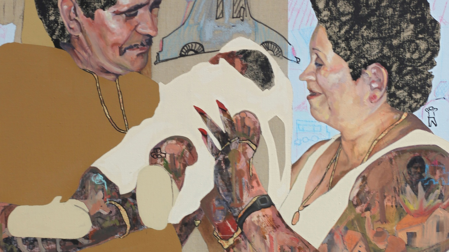 """Elmer Guevara, """"Passed on to Him,"""" 2020. Mixed media on Linen, 36 x 44 inches."""