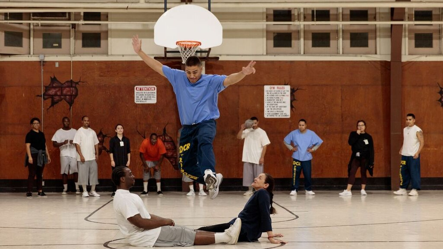 A dance rehearsal at the Correctional Rehabilitation Center in Norco, CA.