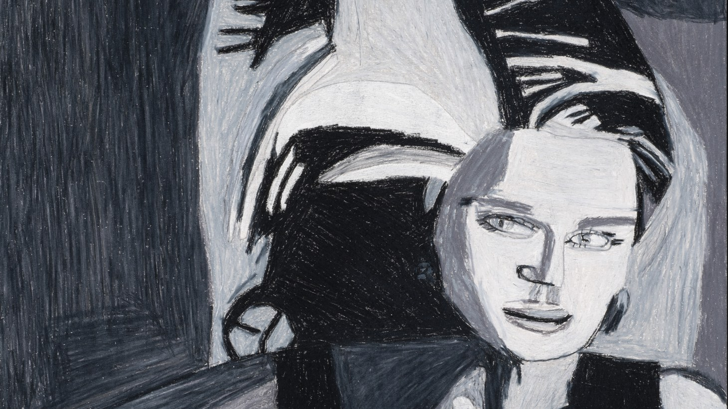 """Helen Rae, """"Untitled (December 5, 2019)."""" Graphite and color pencil on paper, 2019, 16.5 x 7."""""""