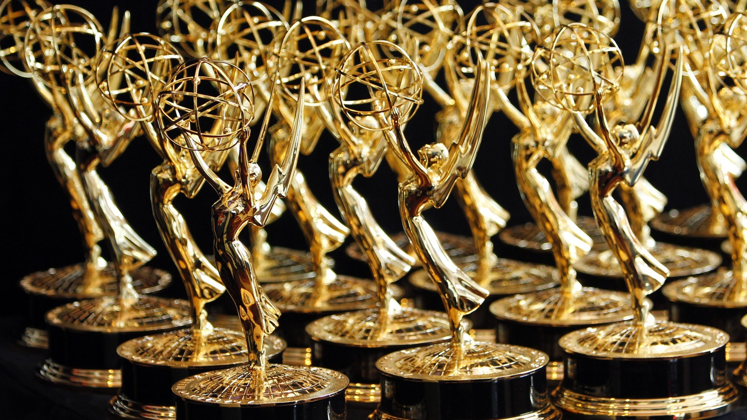 Dozens of Emmy Awards are lined up on the trophy table in the media center at the 62nd annual Primetime Emmy Awards in Los Angeles, California, August 29, 2010.
