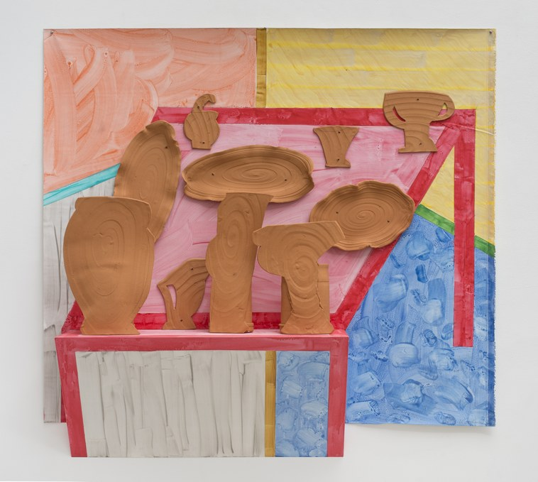 The Pink Table, 2014glazed earthenware, epoxy resin, lacquer, acrylic paint, canvas, wood 65 x 60 x 12 inches(165.1 x 152.4 x 30.5 cm)Photography: Brian Forrest