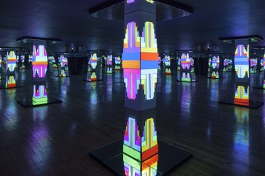 Endless Columns2014Salvaged MGM ashtray, polystyrene on wood frame, Aquaresin, mirrors, sound and light projection18 x 18 x 10 feet, 1 hour loop