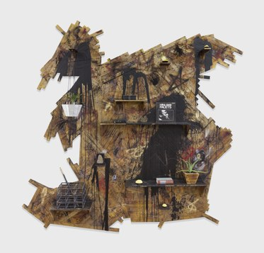 Rashid JohnsonThe Long Dream, 2014burned red oak flooring, black soap, wax, spray enamel, vinyl, steel, bamboo, shea butter, books, plants, mirrored planter133.87 x 140.25 x 12inches(340 x 356.2 x 30.5cm)(Inv# RJ 14.068)Courtesy of David Kordansky Gallery, Los Angeles, CAPhotography: Martin Parsek