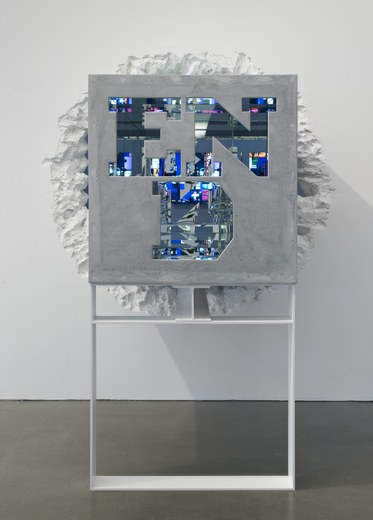 Doug AitkenEND/RUN (timeline)2014Clear mirror, resin, concrete powder coated steel72 x 132 3/4 x 36 inches(182.9 x 337.2 x 91.4 cm)