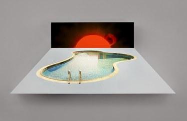 Doug AitkenSUN POOL2014Aluminum lightbox, LED lights, chromogenic transparency, acrylic38 x 88 1/2 x 7 3/8 inches(96.5 x 224.8 x 18.7 cm)
