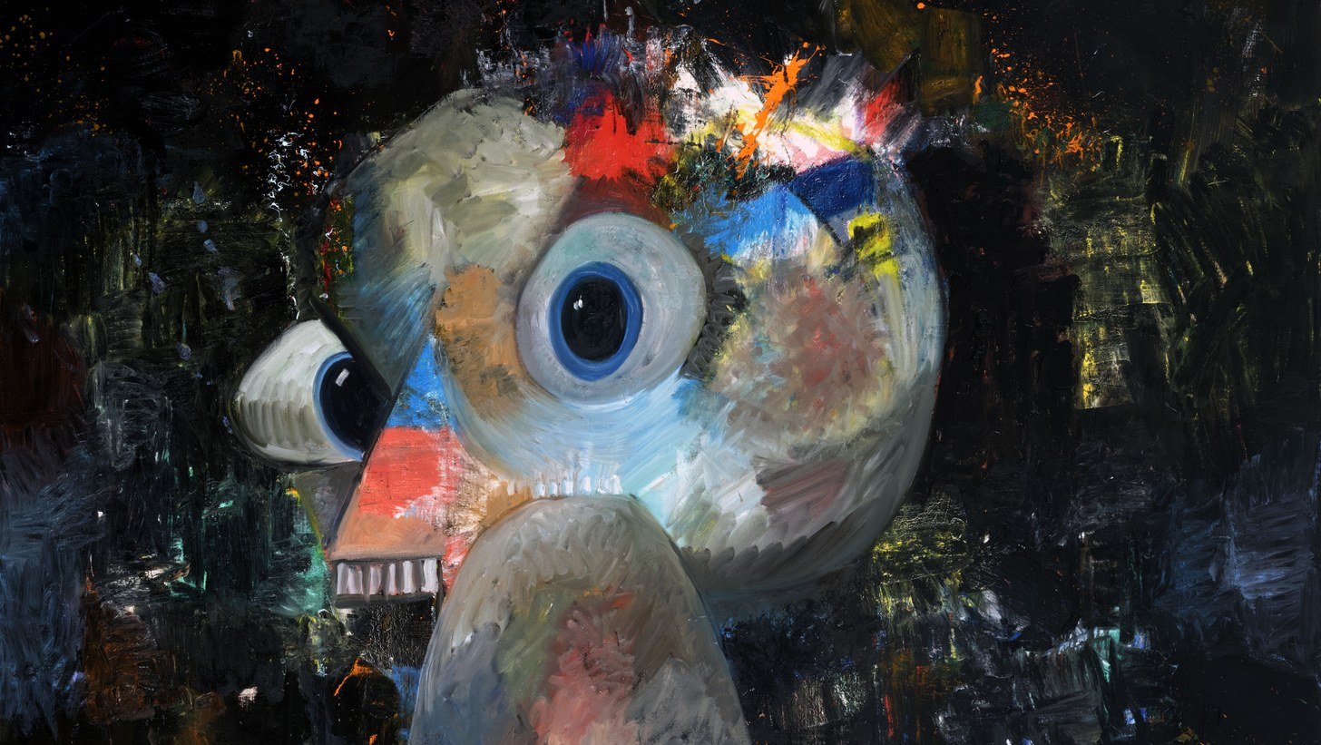 George Condo Birdbrain, 2018 Oil and pigment stick on linen 289,6 × 289,6 cm 114 × 114 inches © George Condo / ARS (Artists Rights Society), New York, 2019