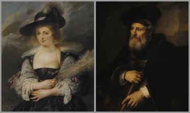 (L) Peter Paul Rubens. Portrait of Helena Fourment, 1630 – 32. Flanders. Oil on Panel. Photo courtesy Gulbenkian Museum.(R) Rembrandt Van Rijn. Portrait of an Old Man, 1645. Holland. Oil on canvas. Photo courtesy Gulbenkian Museum.