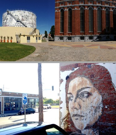 (Top) Alexandre Farto (Vhils). Exhibition at The Electricity Museum, Lisbon. (Bottom) Alexandre Farto (Vhils). Street art on Abbot Kinney Blvd in Venice, CA.Photos by Edward Goldman.