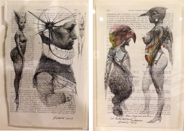 (L) Robert Fabelo (Cuba, b. 1961). Orígenes reales / Real Origins, 2013. Ink on printed paper. (R) Robert Fabelo. Al techo del seno / At the Top of the Breast, 2013. Ink on printed paper. Photos Edward Goldman.