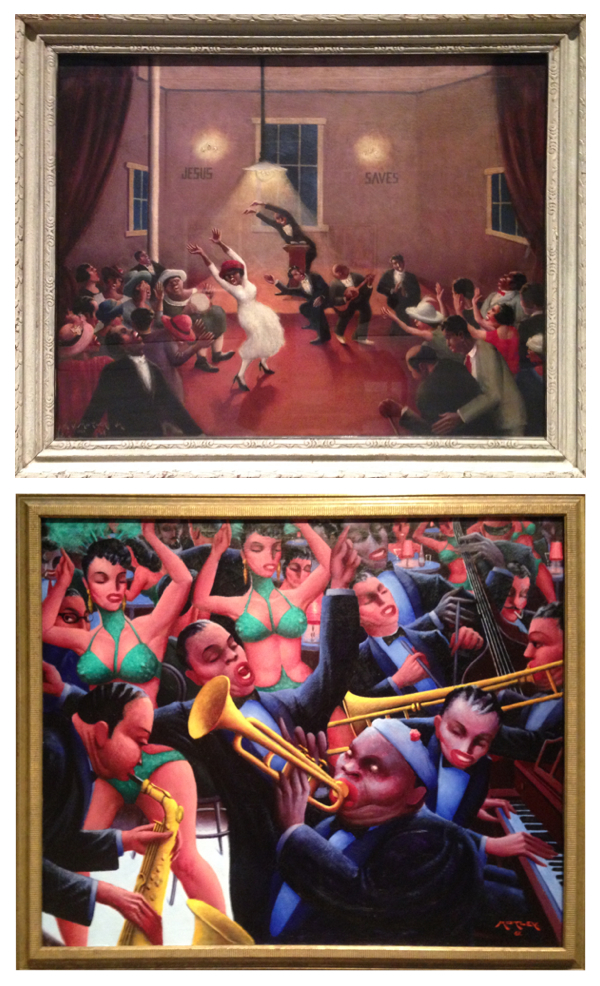 (Top): Archibald Motley. Tongues (Holy Rollers), 1929.(Bottom): Archibald Motley. Hot Rhythm, 1961. Exhibition at LACMA.Photographs Edward Goldman.