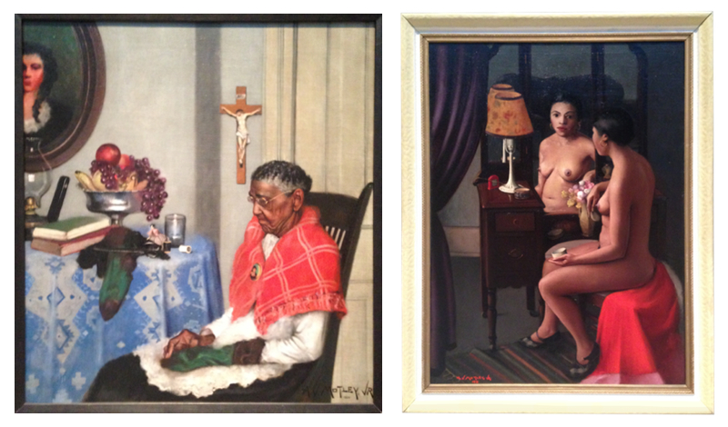 (L) Archibald Motley. Mending Socks, 1924. (R) Archibald Motley. Brown Girl After the Bath, 1931. Exhibition at LACMA.Photographs Edward Goldman.