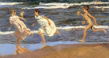 Joaquín Sorolla y Bastida. Running Along the Beach, 1908. Oil on canvas. Museo de Bellas Artes de Asturias.