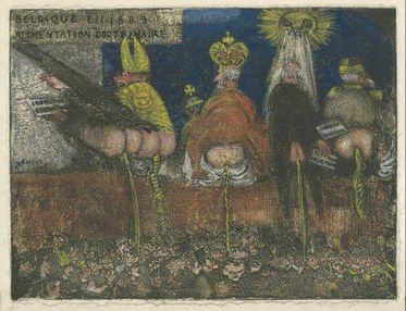 James Ensor. Doctrinal Nourishment. 1889/1895. Etching printed with toneand hand-colored with white gouache and with red, yellow, and blue chalk andwatercolor. Los Angeles County Museum of Art.