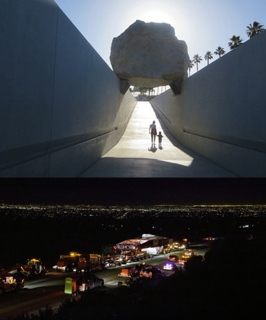 (Top) A scene from LEVITATED MASS, a film by Doug Pray. A 340-ton boulderinstalled at LACMA. (Doug Pray)(Bottom) A 340-ton boulder passes through La Mirada Park, California, enroute to LACMA with LA skyline in the background. A scene from LEVITATEDMASS, a film by Doug Pray. A First Run Features Release. Photo by TomVinetz.