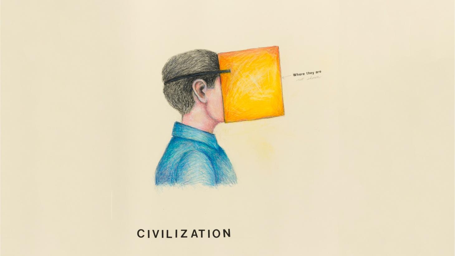 Civilization (MemWars), 2018 - 2019  mixed media on paper  30 x 22 in.  (76.2 x 55.9 cm)  © Terry Allen.