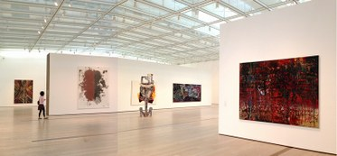 "Installation view. ""Variations: Conversations in and around Abstract Painting."" LACMA."