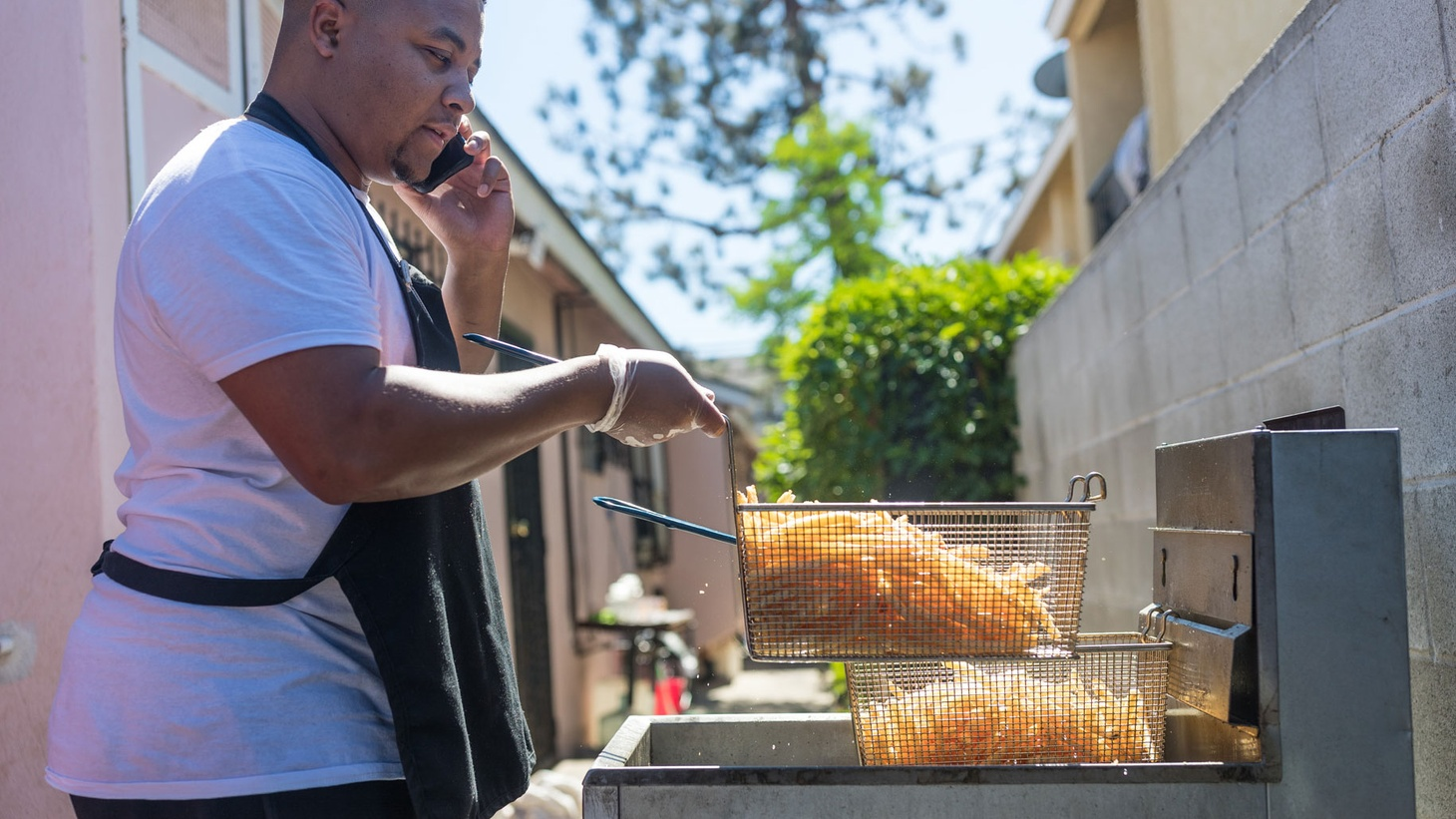 Throughout South Los Angeles and the surrounding neighborhoods there's a growing community of underground home chefs who sell food on Instagram. One of those chefs, a guy who goes by the name Mr. Fries Man, specializes in loaded french fries.