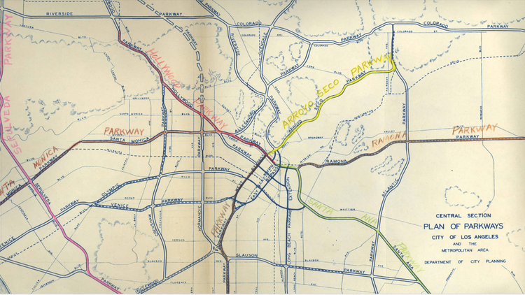 """Listen: why LA's Freeways were built KCRW listener Hunter Owens asked """"How did the freeways get laid downtown? How did we as a city go about deciding where to place…"""