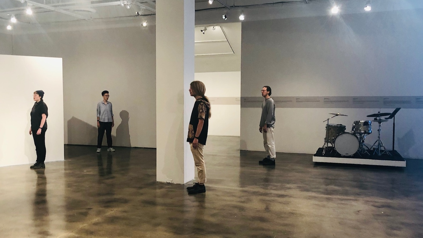 """The """"cast"""" of Kunsthalle for Music in a rehearsal of the exhibit at the Museum of Contemporary Art Santa Barbara."""