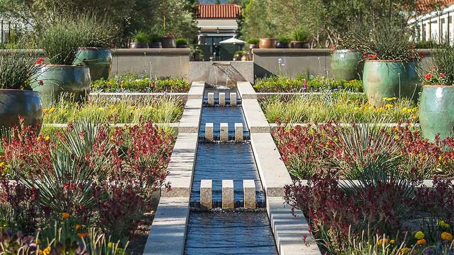 Entry garden at the Huntington Library, Art Museum, and Botanical Gardens in San Marino