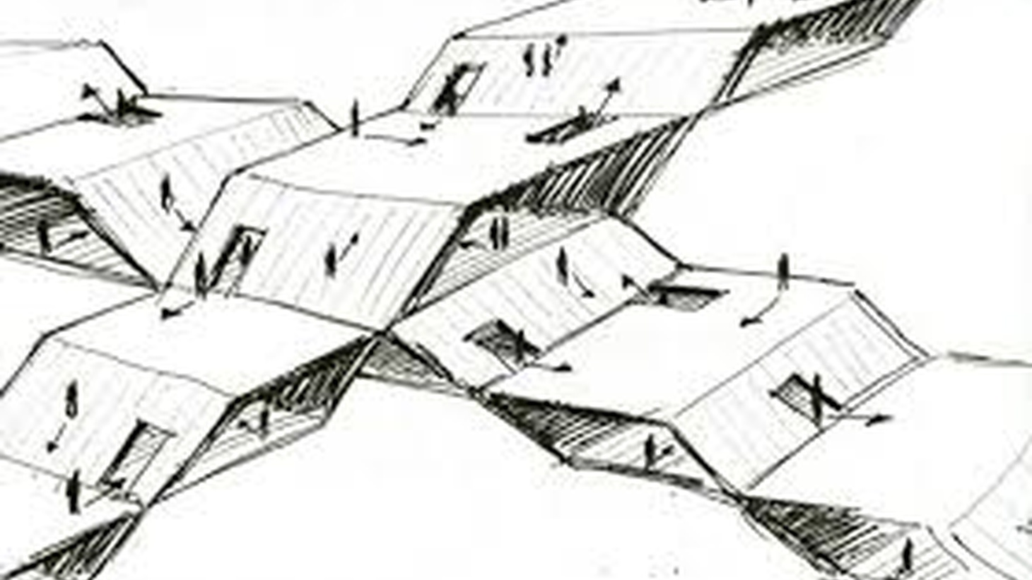 A sketch illustrating The Oblique Function by French Architect Claude Parent