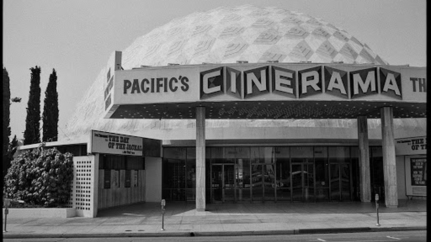 Cineramadome on Sunset Boulevard photographed by Ed Ruscha in 1973. The artist photographed the same building in 1990, and again in 2007. Streets of Los Angeles Archive. The Getty Research Institute, 2012.M.1. © Ed Ruscha