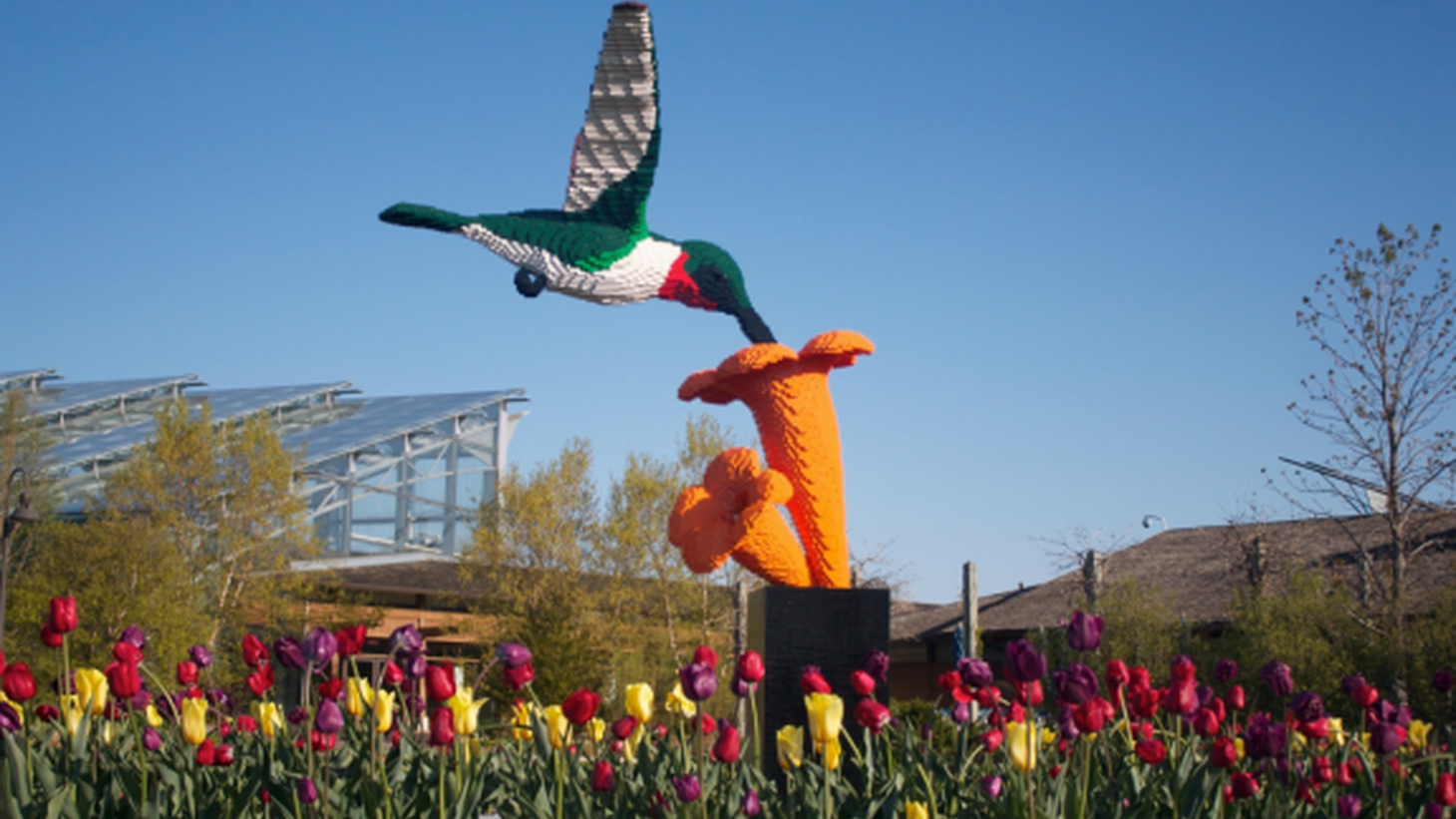A hummingbird and flower made of Lego bricks by Sean Kenney.