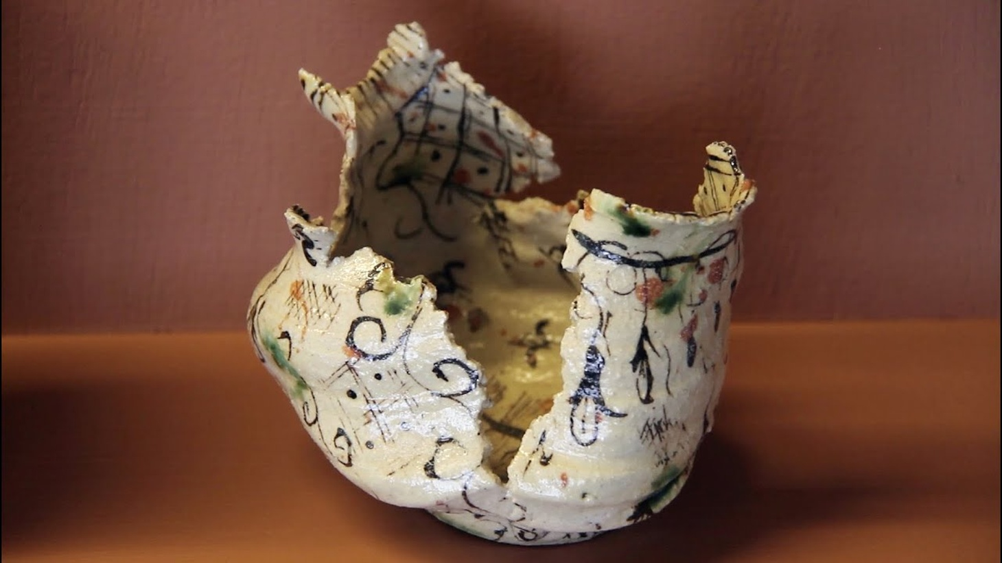 An example of the 'keshiki', the landscape of the surface that makes a work unique, by ceramicists Furuta Oribe, from the Collection of Gordon Brodfuehrer