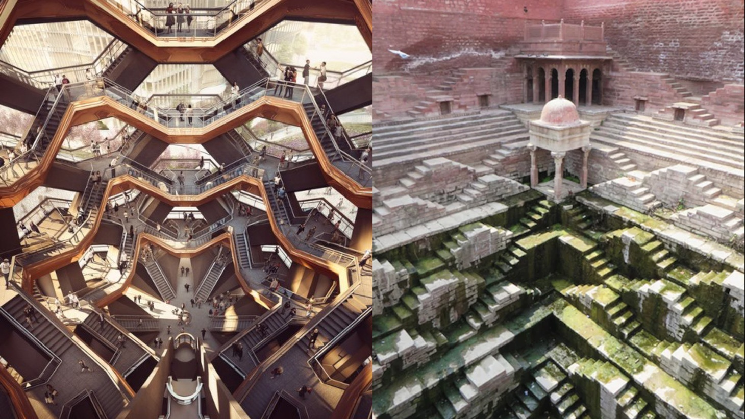 An ancient stepwell in India, right (photo by Victoria Lautman), inspires designers today, including Vessel creator Thomas Heatherwick (image courtesy of Forbes Massie-Heatherwick Studio).