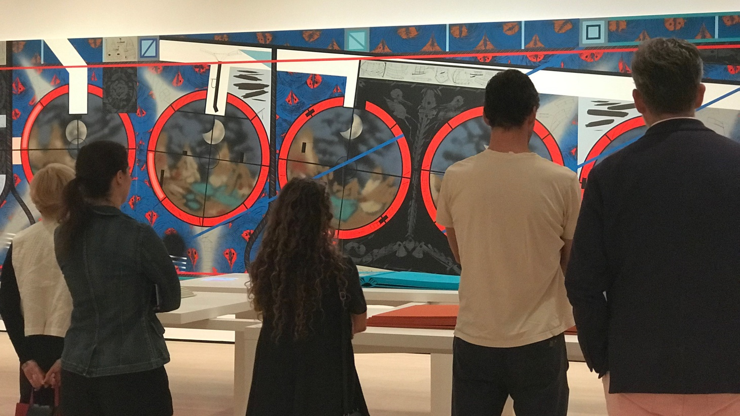 """Attendees at the preview of Lari Pittman's """"Declaration of Independence"""" at The Hammer museum. Photo by Frances Anderton."""