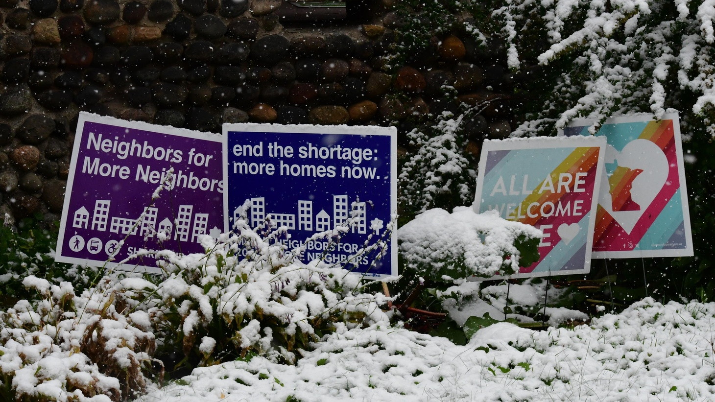 Yard signs in Minneapolis in support of the Minneapolis 2040 comprehensive plan, which will upzone the city's single-family neighborhoods.