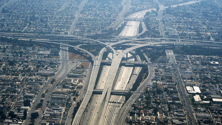 The 110 and 105 interchange in Los Angeles Photo courtesy of  Rémi Jouan  