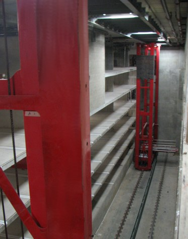 Inside robot garage