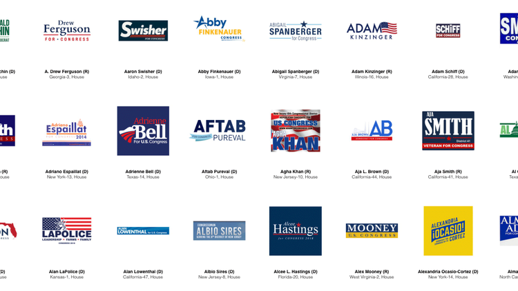 The Democratic field of presidential contenders is filling up. You can tell a lot about their messages from their political campaign logos -- color, font, punctuation.