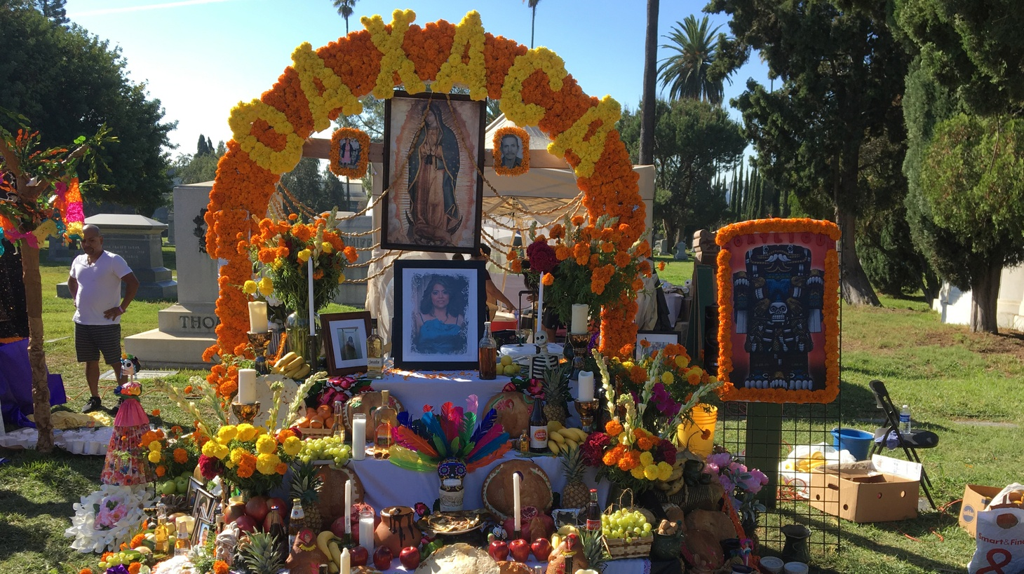 A ritual altar, or ofrenda, on view at Hollywood Forever Cemetery.