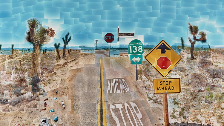 "David Hockney, ""Pearblossom Hwy., 11-18th April 1986, #2, April 11-18,"" 1986 Collage of chromogenic prints © 1986 David Hockney / Image courtesy Getty Museum 