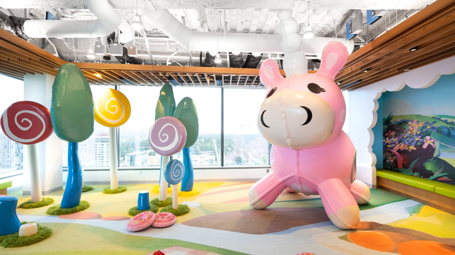 A funzone is at the new Valve headquarters in Bellevue, Washington. It's designed by Clive Wilkinson with JPC Architects.