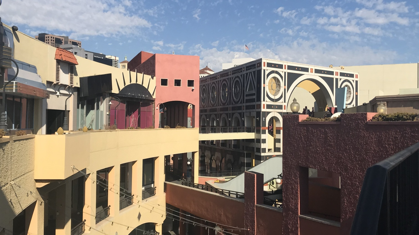 Most of Jon Jerde's design flourishes are still visible, even as Horton Plaza itself is mostly vacant.