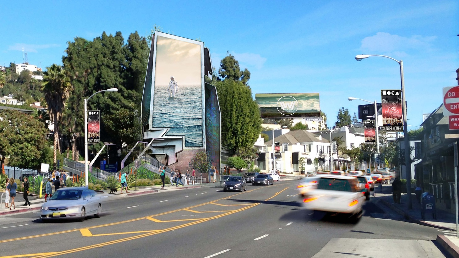 """West Hollywood's new digital sign project, dubbed """"Sunset Spectacular,"""" includes this billboard designed by architect Tom Wiscombe."""