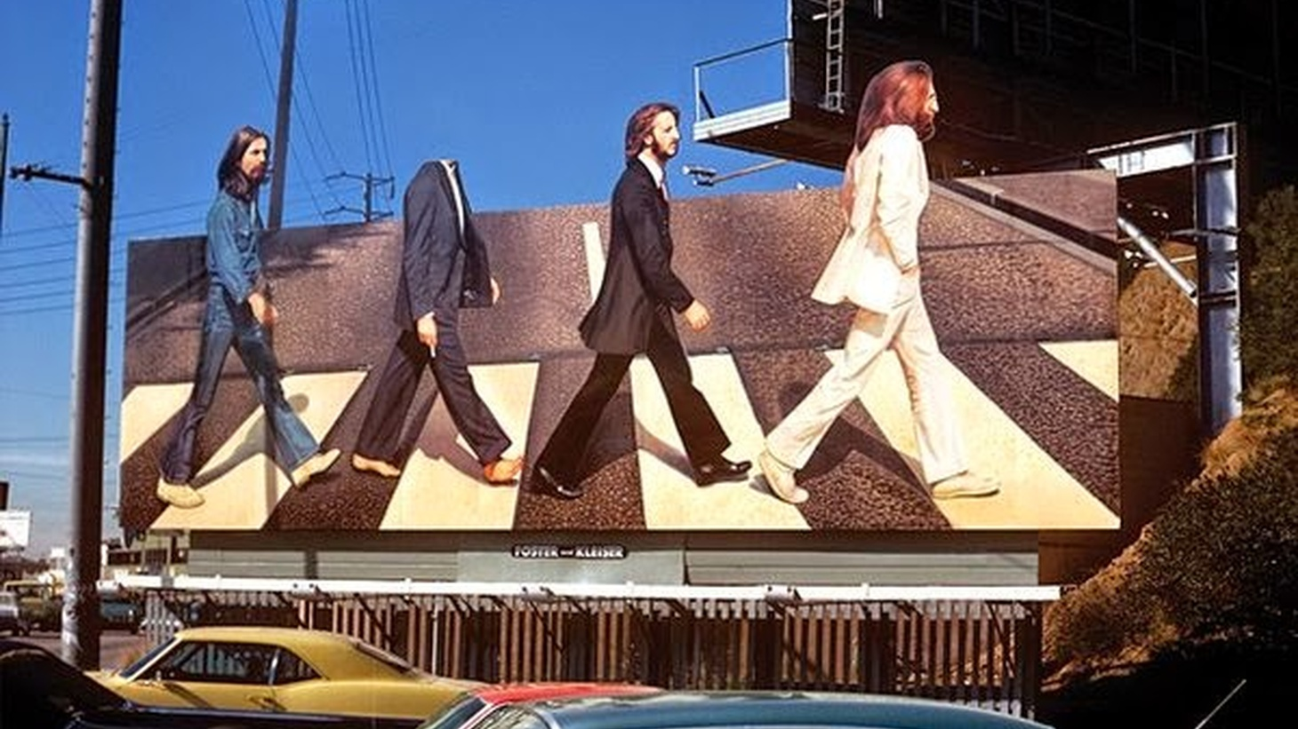 The headless Paul McCartney in Robert Landau's photo of the Abbey Road billboard on the Sunset Strip.