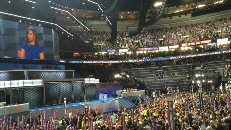 The Democratic National Convention in Philadelphia differs in substance from the GOP Convention in Cleveland, but it creates a similar spectacle.