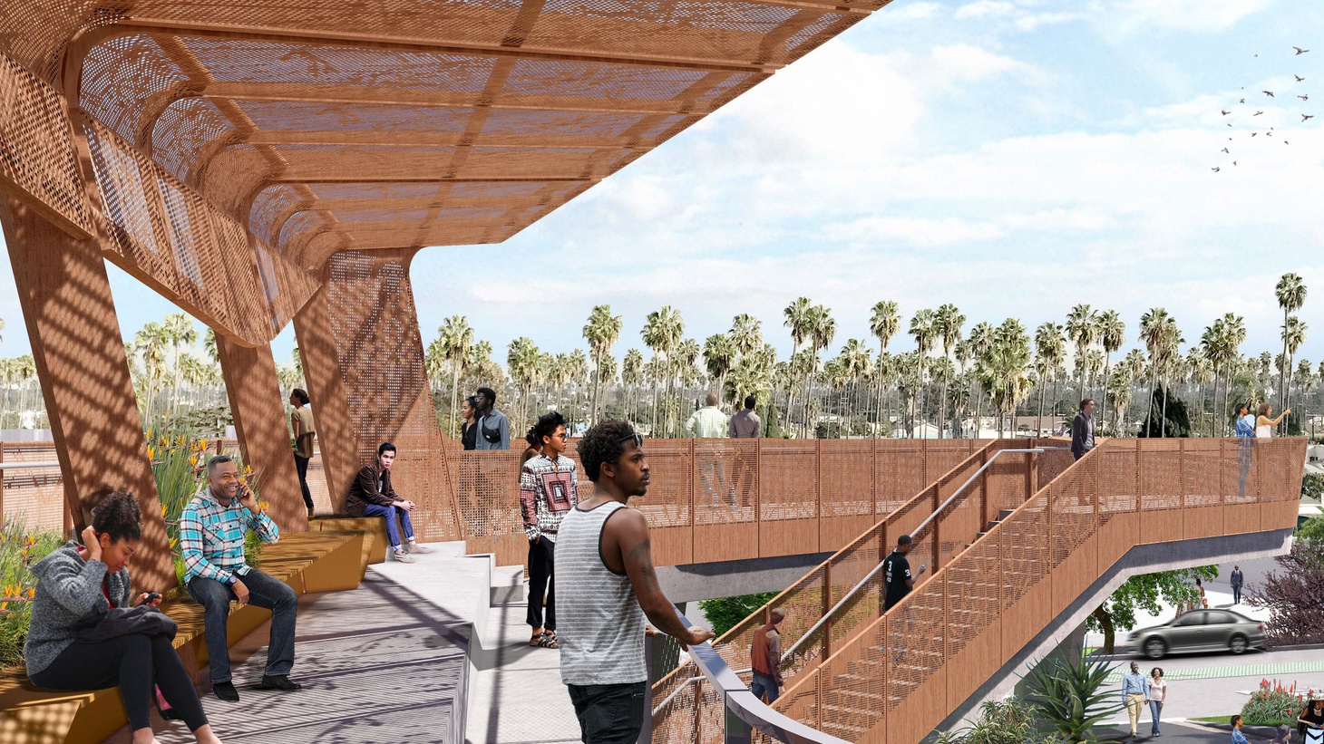 Destination Crenshaw was one of several South LA projects Nipsey Hussle was involved with. Views to the east from the upper level of the viewing deck at Sankofa Park, located where Crenshaw Blvd. and Leimert Blvd. split.