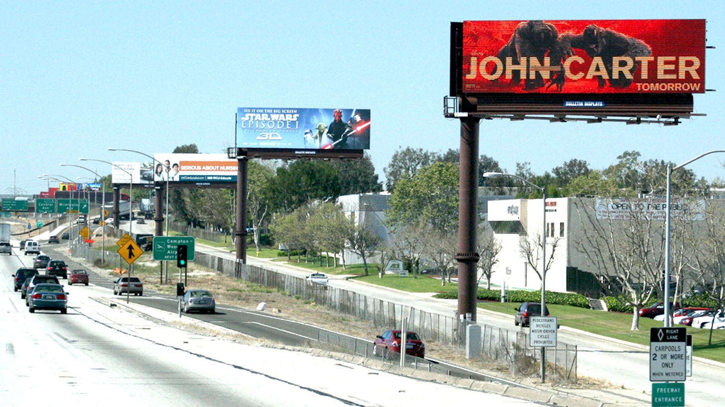 Digital billboards along the freeway.