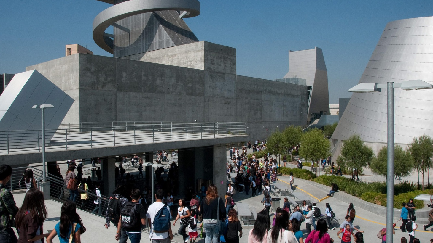 The LAUSD's new flagship arts high school opened last week. Will this icon for the underserved enable creativity? We hear about it from architect Wolf Prix, Rex Patton, some students and others. Also, we hear about the real (M)ad Men, from filmmaker Doug Pray. Plus, Ken Bernstein tells us why the city is surveying every single building in LA.